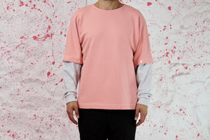 Pink sweatshirt with grey removable sleevs