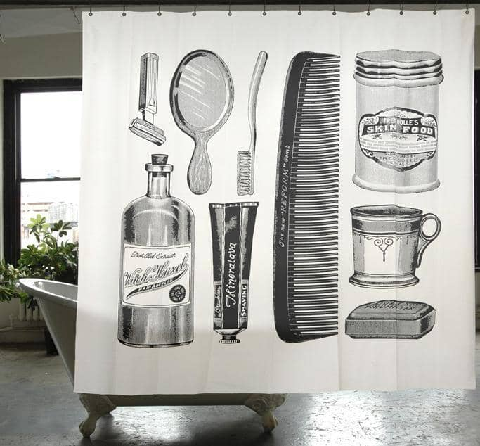 Apothecary Canvas Shower Curtain