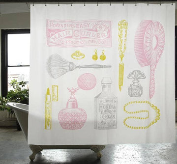 Powder Room Canvas Shower Curtain