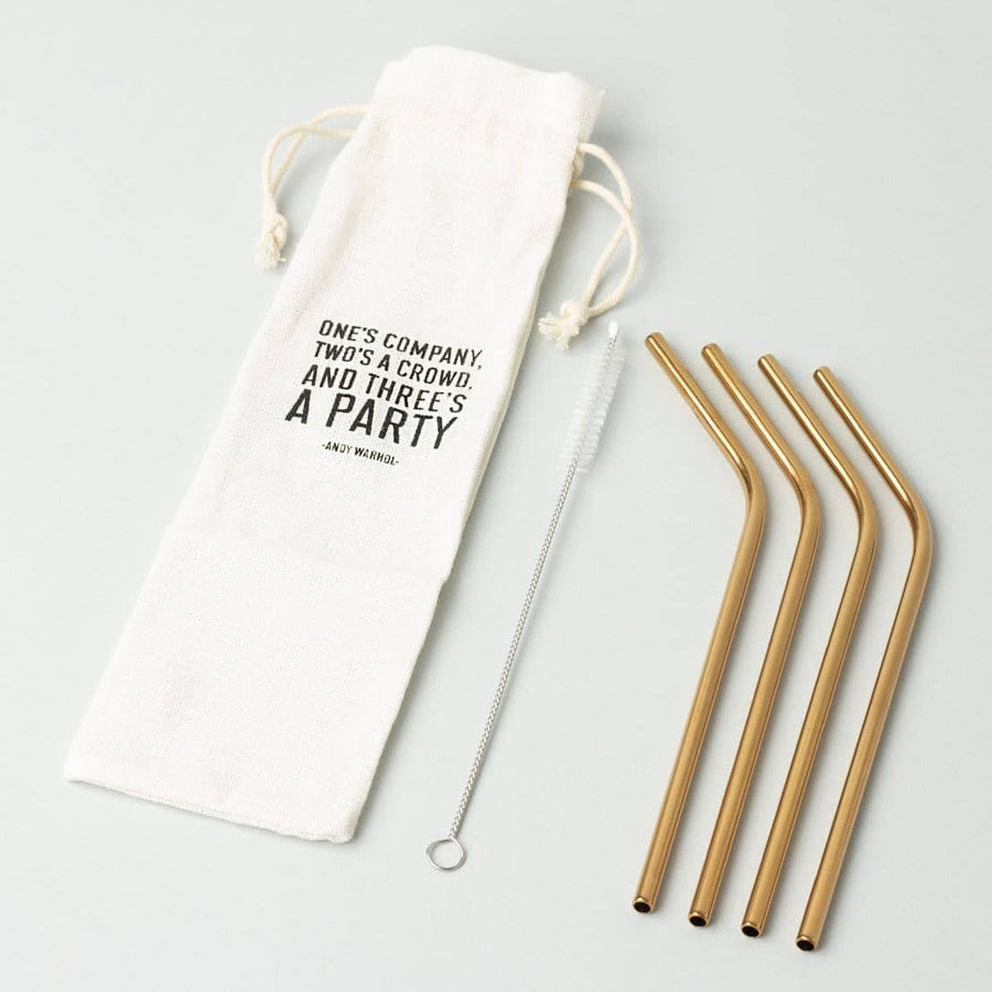 Brass Plated Cocktail Straws