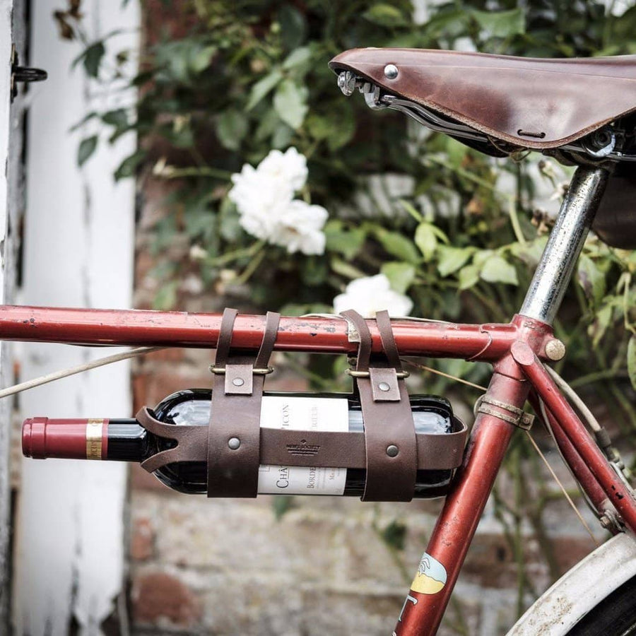 Bicycle Leather Wine Bottle Holder