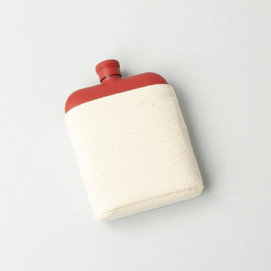 Red 6oz Flask with Canvas Carrier