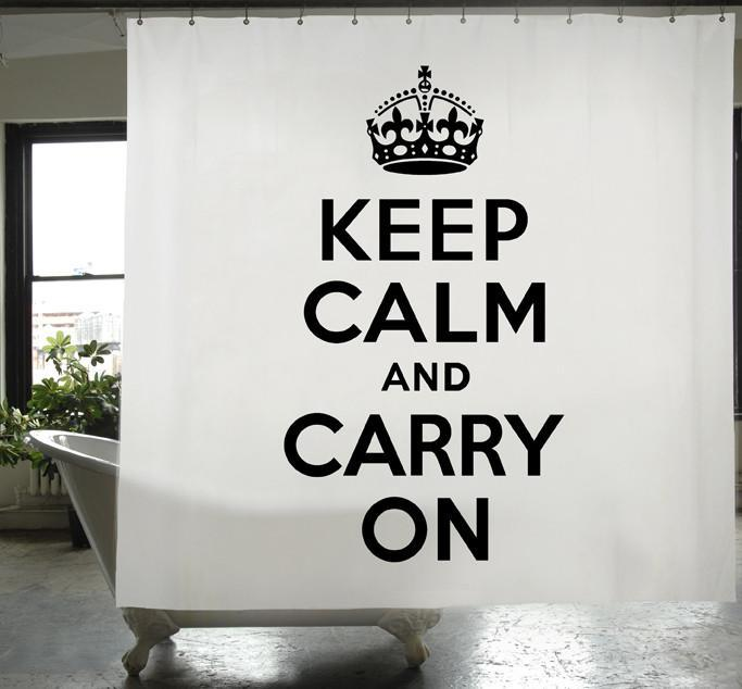 Keep Calm and Carry On PEVA Shower Curtain