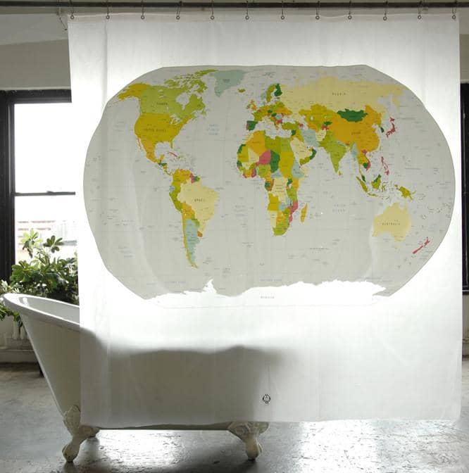 World Map PEVA Shower Curtain