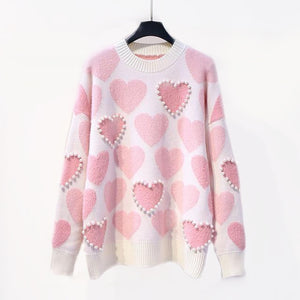 Pearl Hearts Knitted Sweater