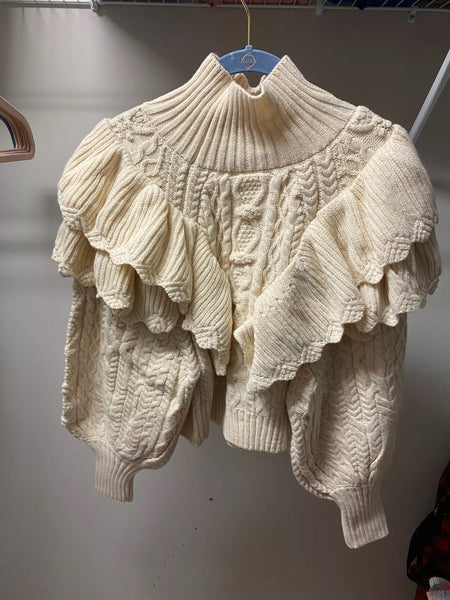 Ruffled Lantern Sleeve Knitted Sweater