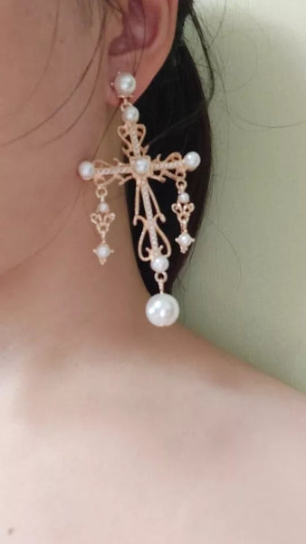 European cross earrings