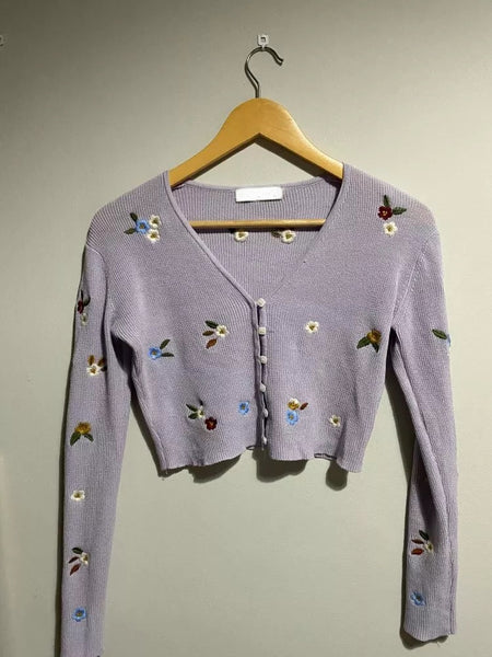 Purple  Cardigan with floral embroidery