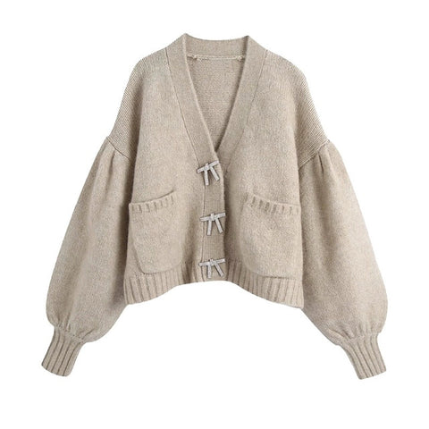 Rhinestoned Ribbon Knitted Cardigan