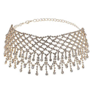 Rain on rhinestone choker