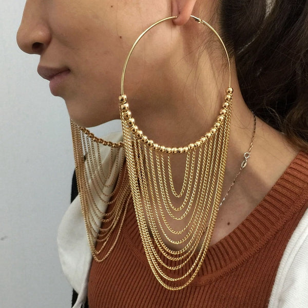 Round Tassel drop earrings