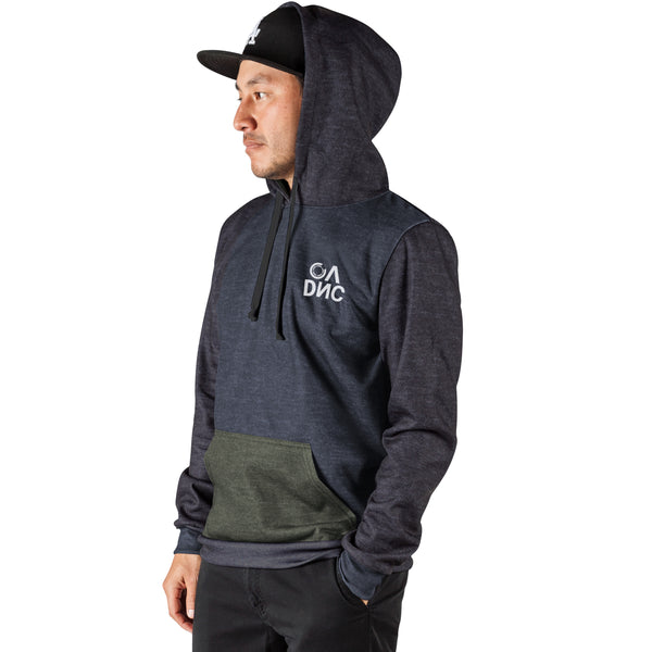 Blocked Pull Over Hoodie - Heather Black