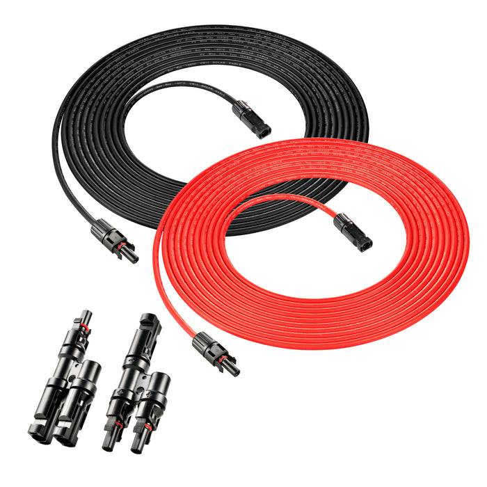10 GAUGE 30 FEET SOLAR EXTENSION CABLE AND PARALLEL CONNECTORS - RICH SOLAR