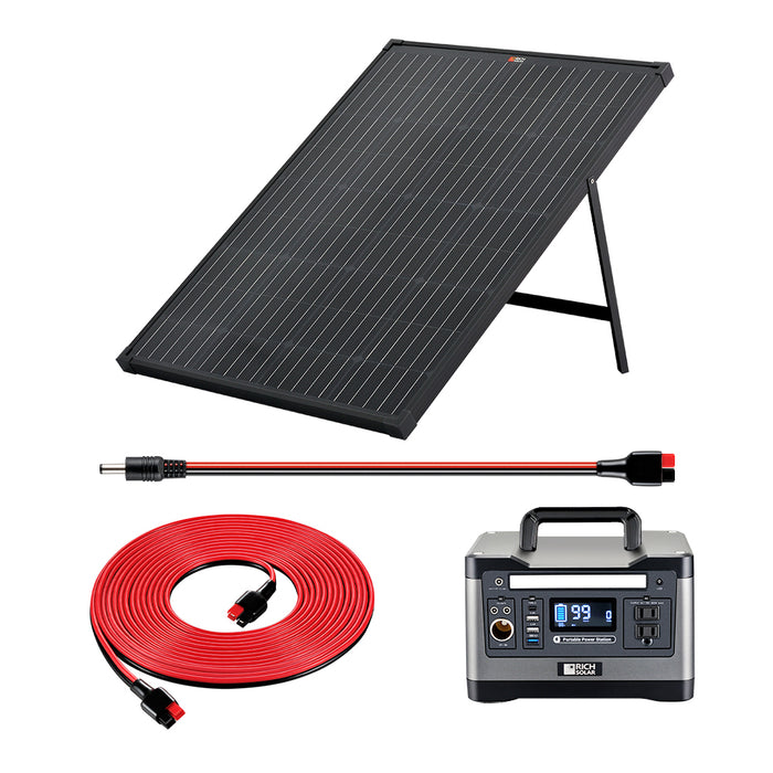X500 SOLAR GENERATOR KIT 540WH GENERATOR + 100 WATT PORTABLE SOLAR PANEL BLACK - RICH SOLAR