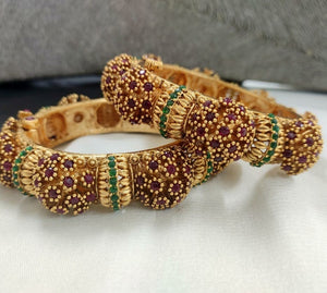 Premium matte gold CZ bangle set