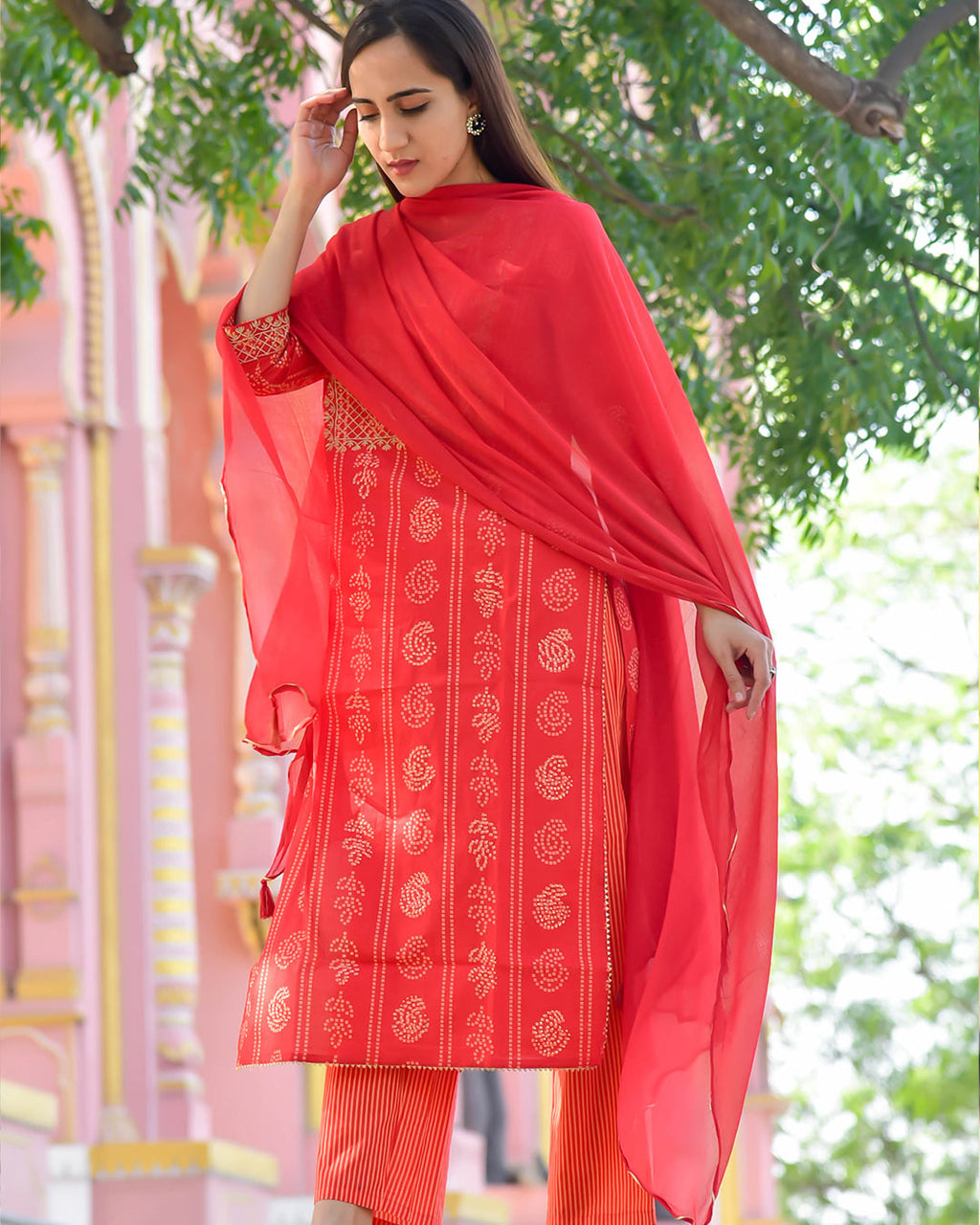 TOMATO RED BANDHEJ SUIT SET
