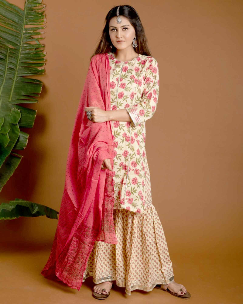 CREAM & PINK HANDBLOCK SHARARA SET