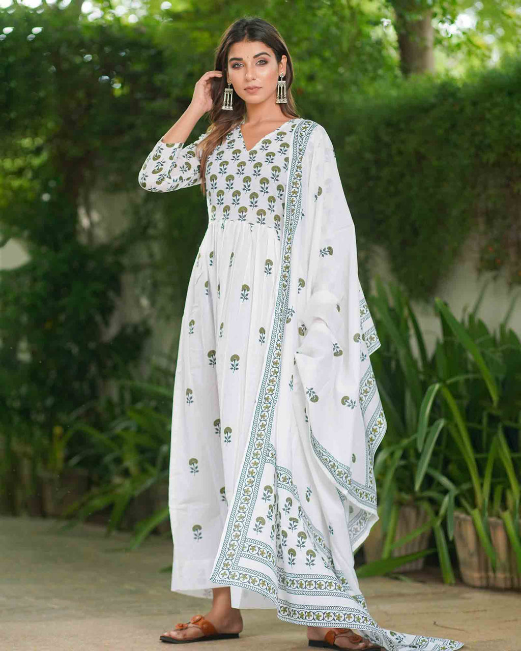 WHITE LONG GOWN WITH DUPATTA