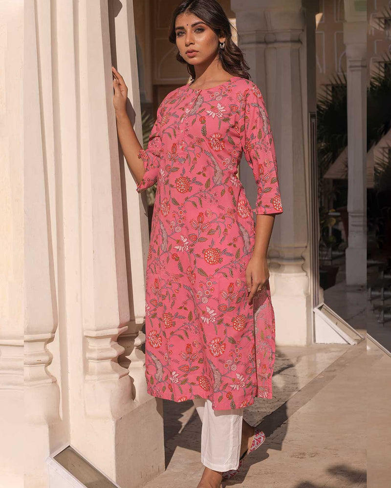 PINK & WHITE FLOWER KURTA