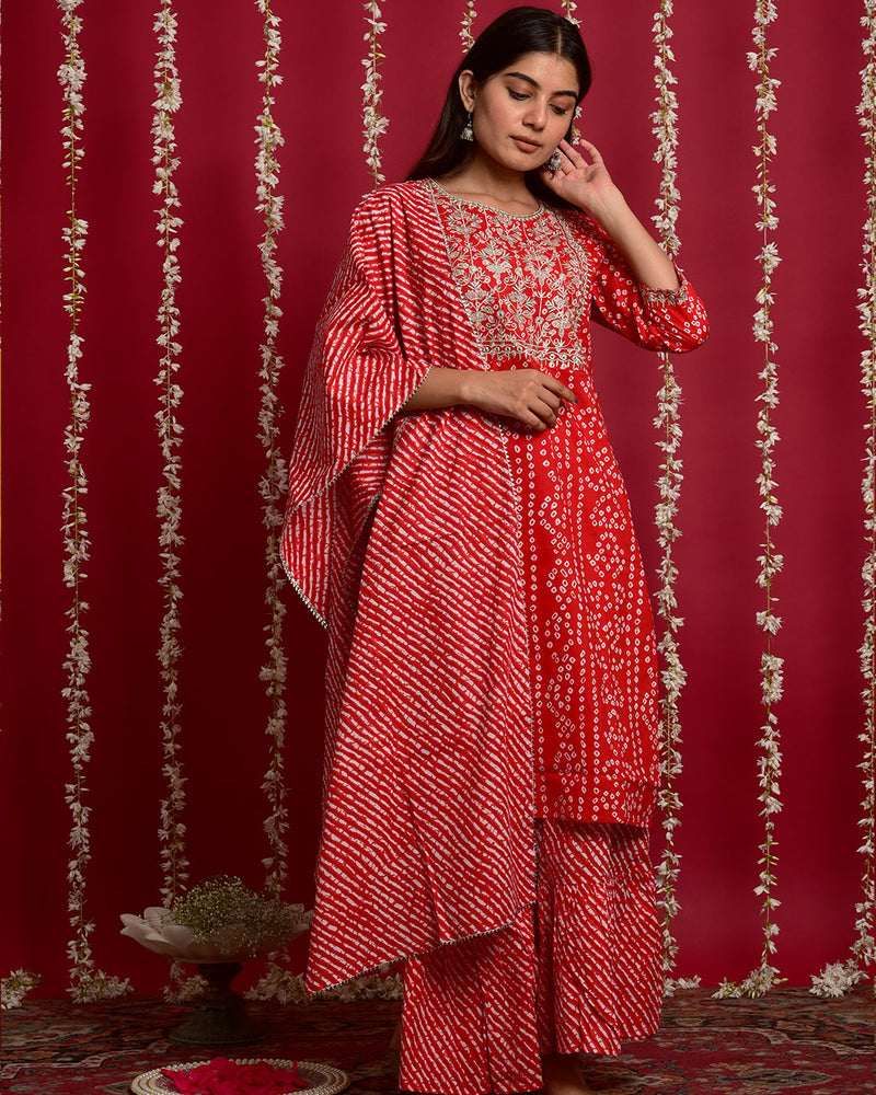 RED BANDHEJ SUIT SET