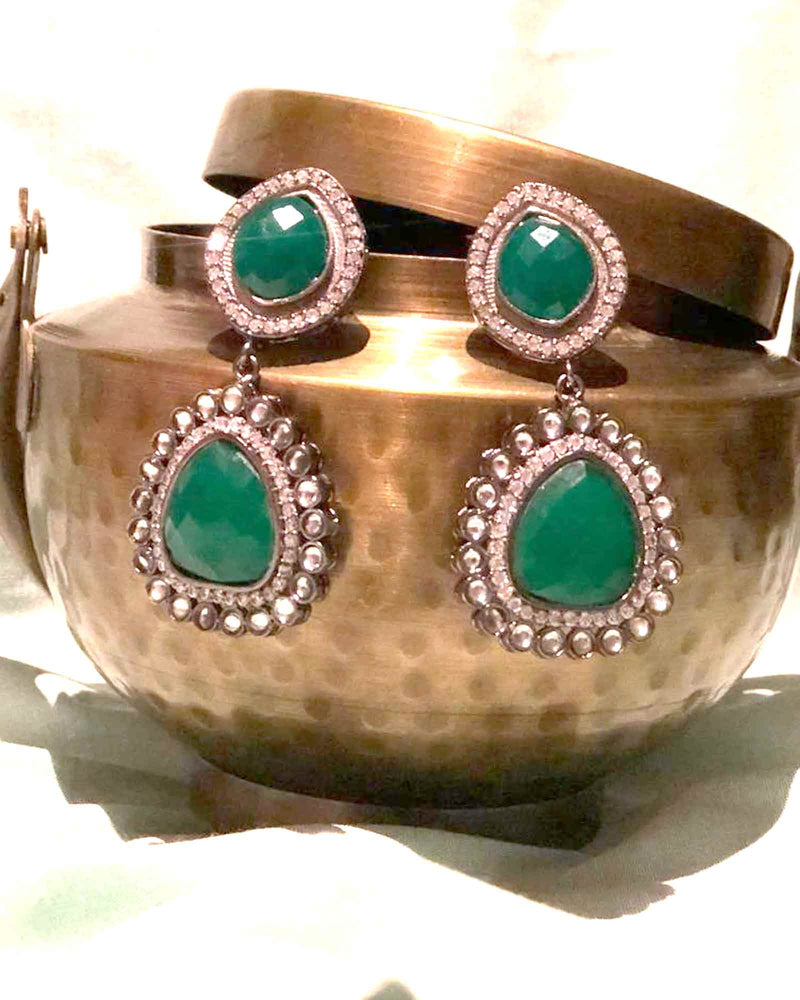 GREEN GEMSTONE EMBELLISHED EARRINGS