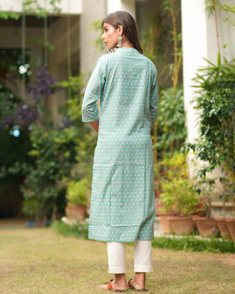 LIGHT BLUE PRINTED KURTA