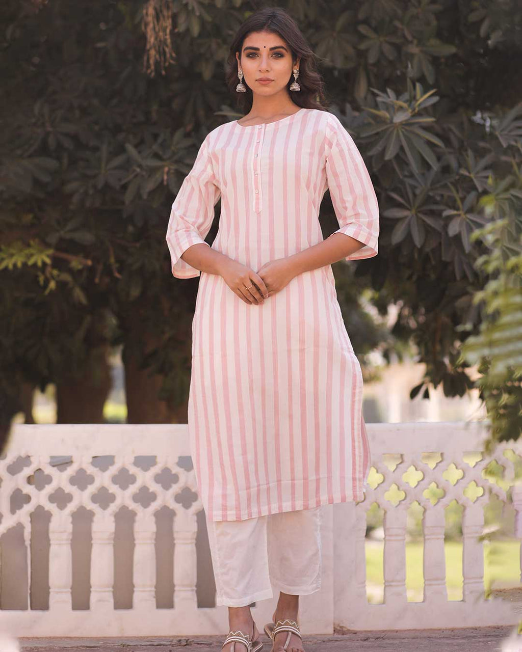 PINK & WHITE STRIPED KURTA