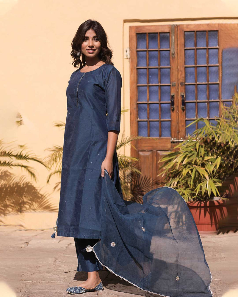 BLUE CHANDERI SUIT SET