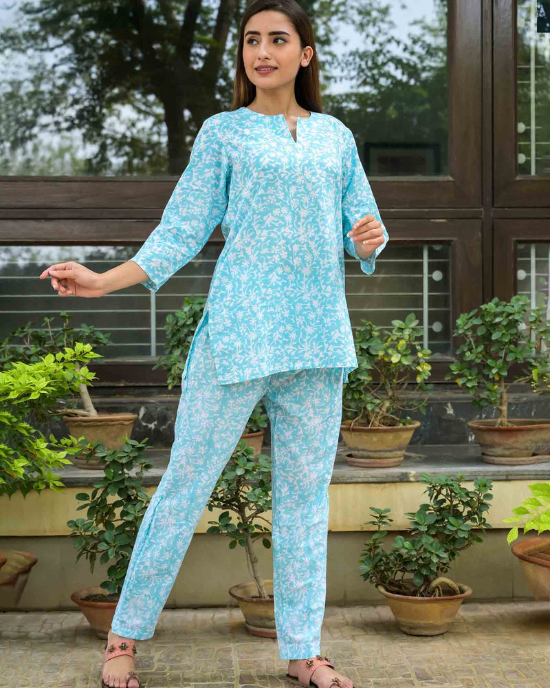 SKYBLUE HANDBLOCK PAJAMA SET
