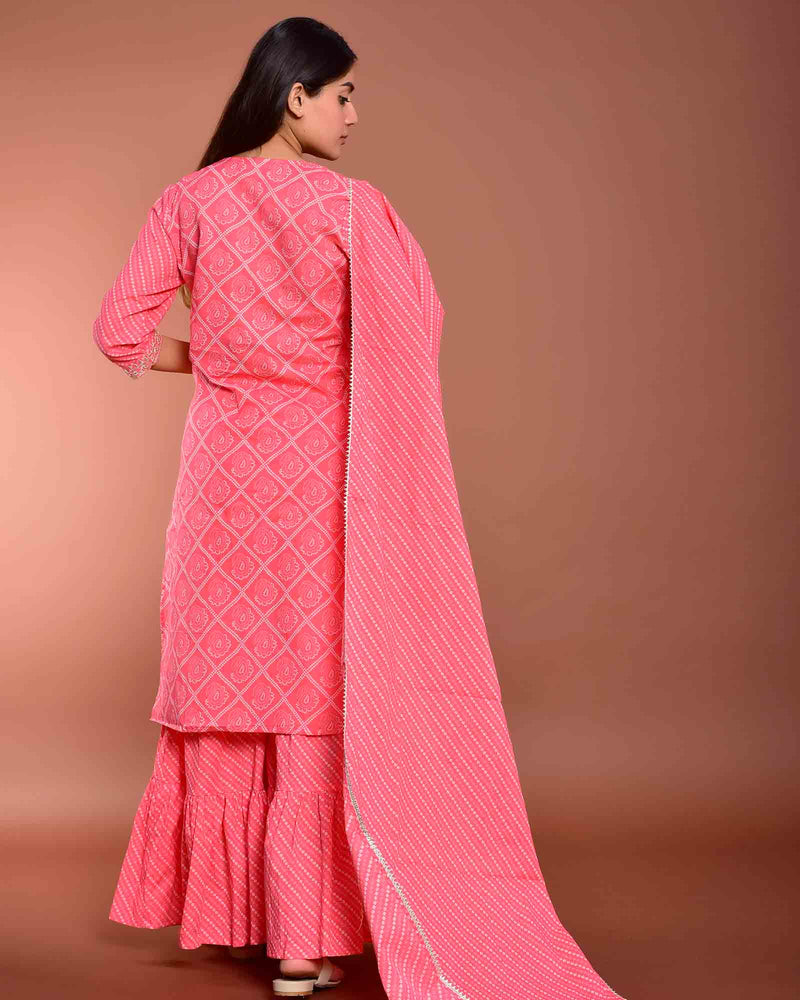 PINK BANDHEJ SUIT SET