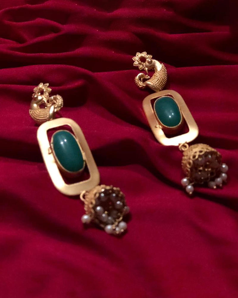 GREEN GOLD TONE JHUMKA EARRINGS