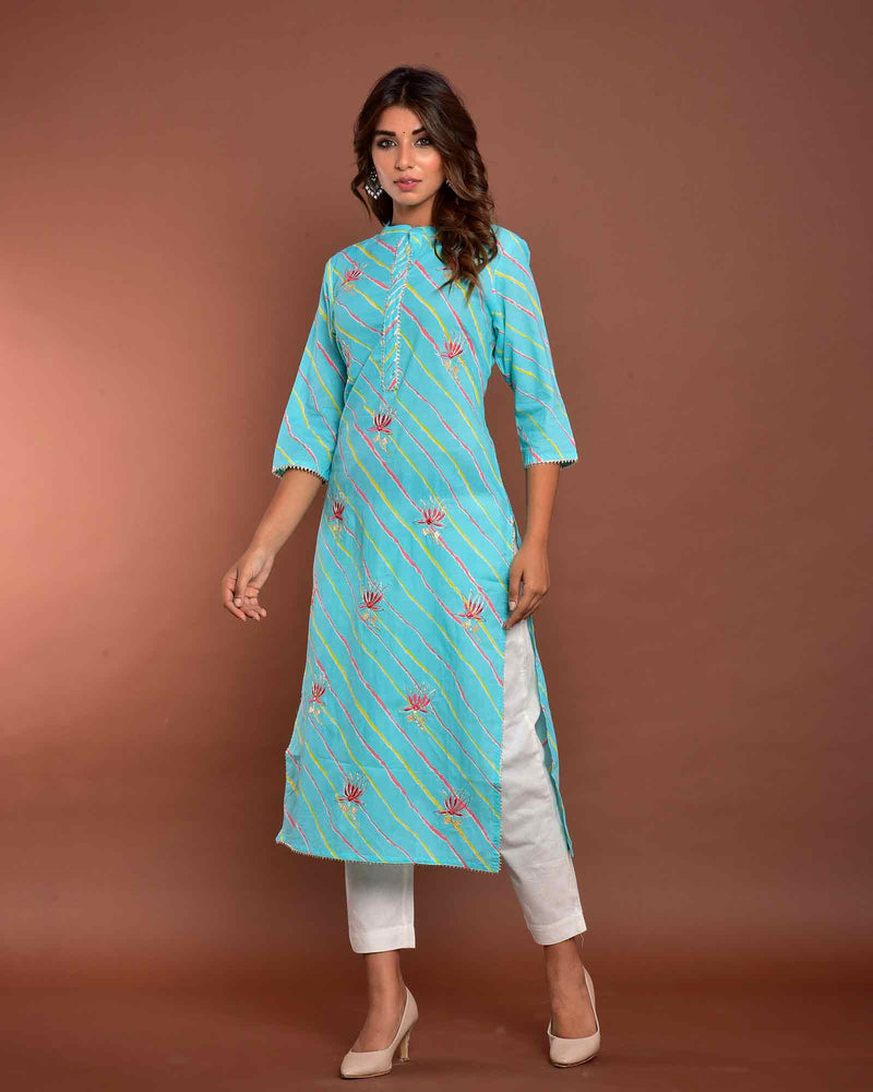 LIGHT BLUE LEHERIYA KURTA