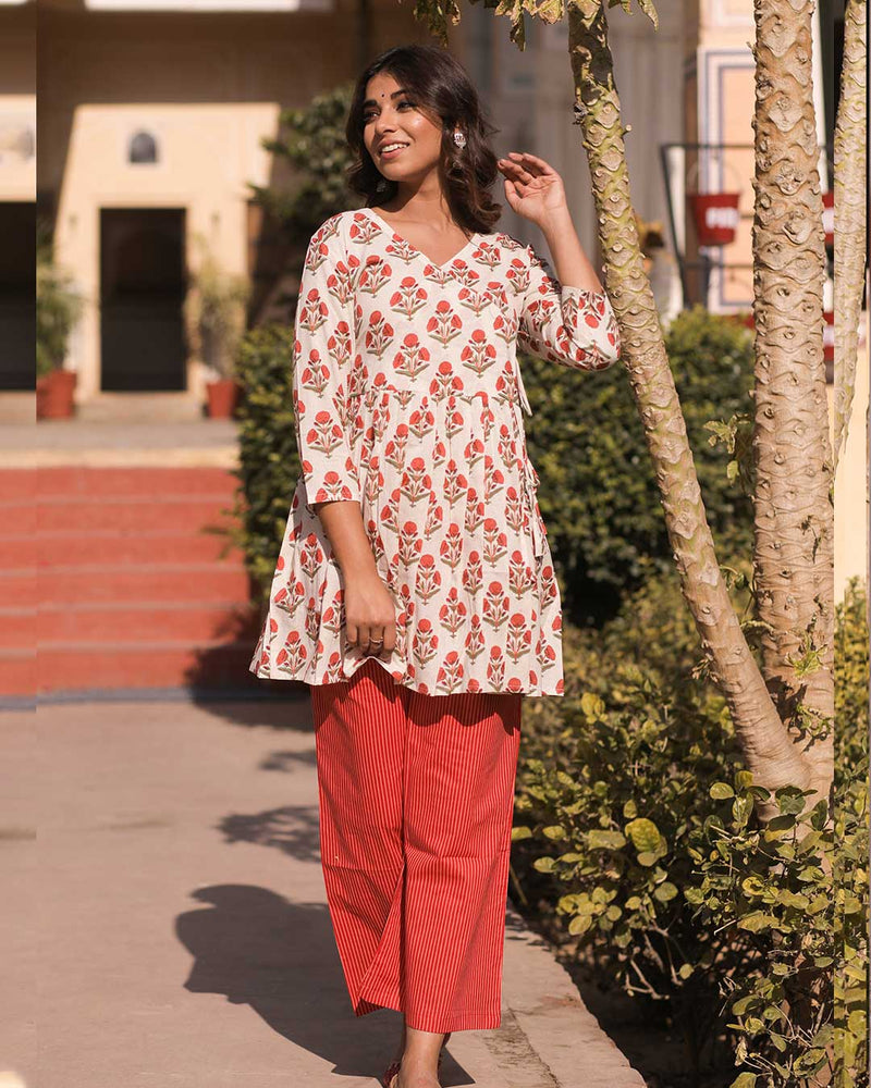 RED & WHITE ANGRAKHA PANT SET