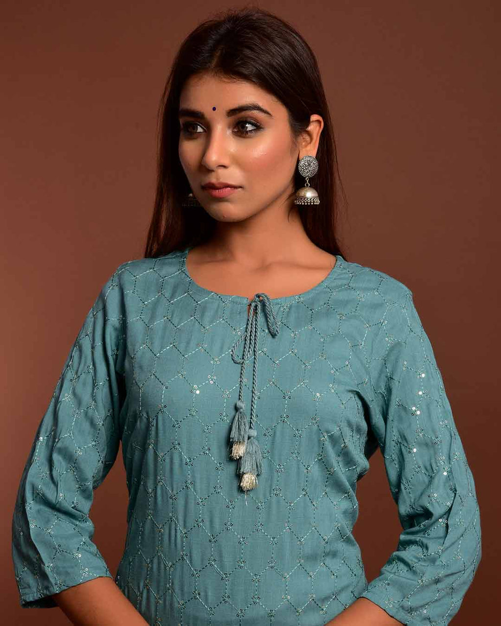 SHIMMERY TURKISH BLUE KURTA