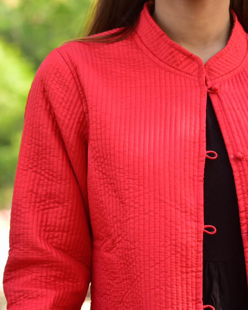 RED SILK & COTTON QUILTED JACKET