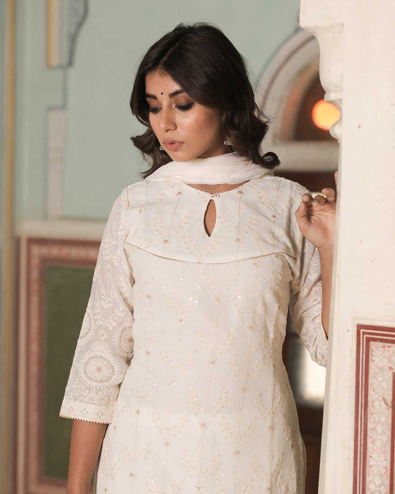 WHITE CHIKAN EMBROIDERED SUIT SET