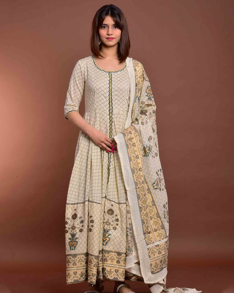 CREAM PRINTED GOWN WITH DUPATTA