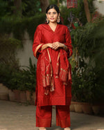 CHANDERI SILK RED SUIT SET