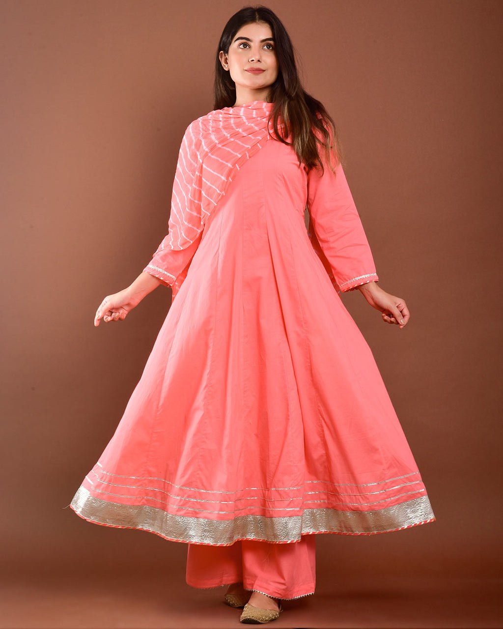 PEACH ANARKALI SUIT SET