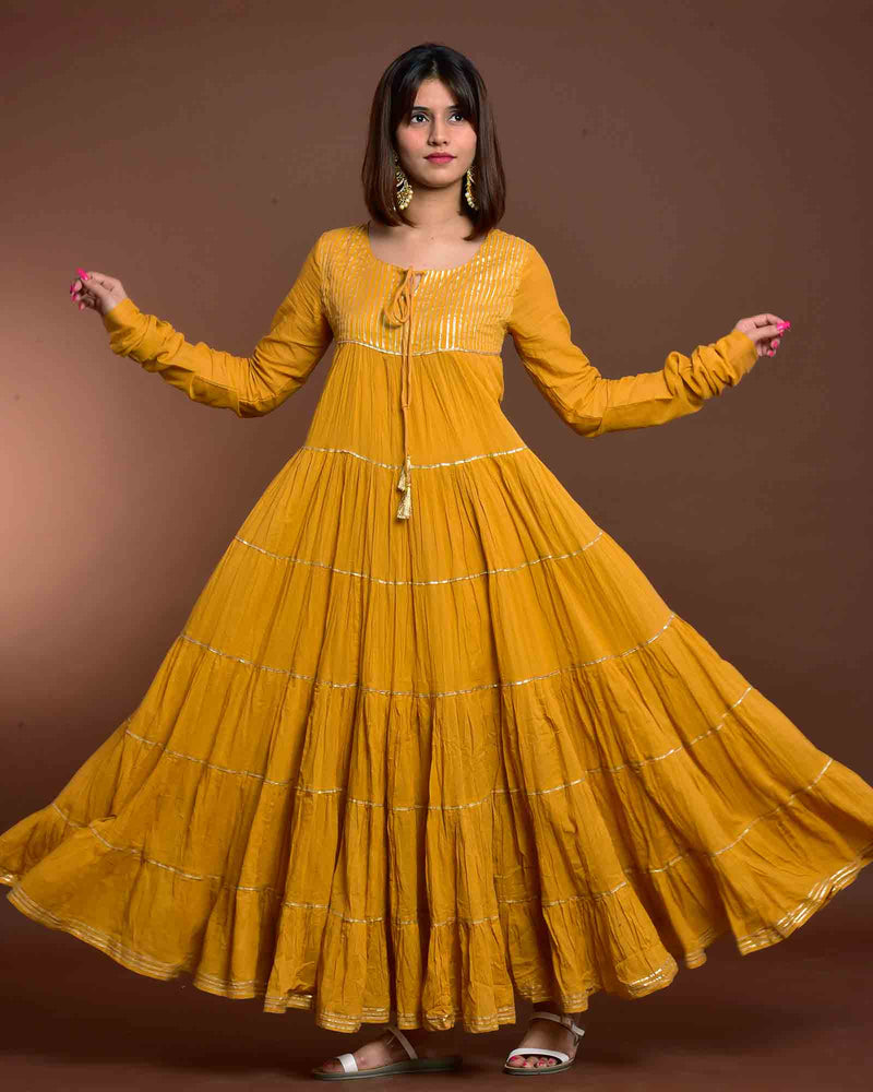 MUSTARD LONG GOWN WITH DUAPATTA