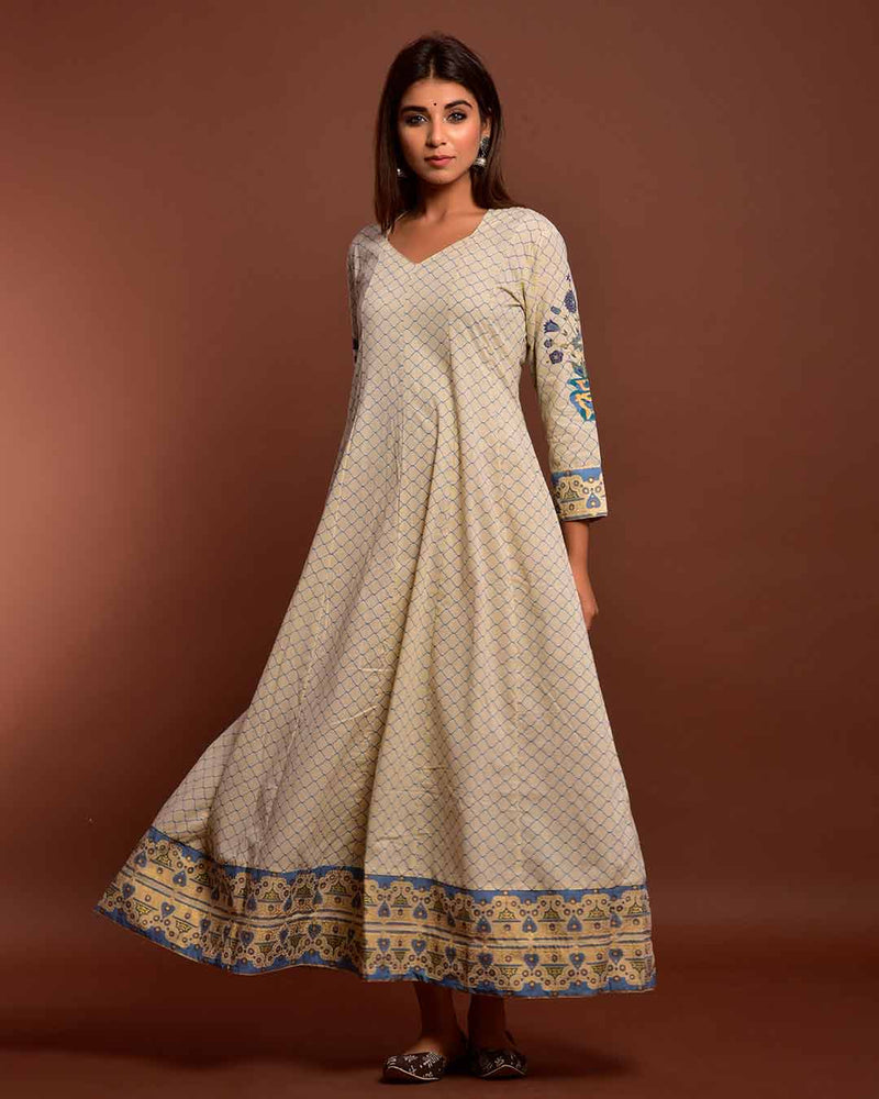 CREAM GOWN WITH DUPATTA