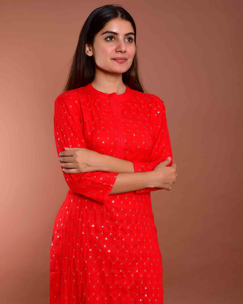 SHIMMERY RED KURTA