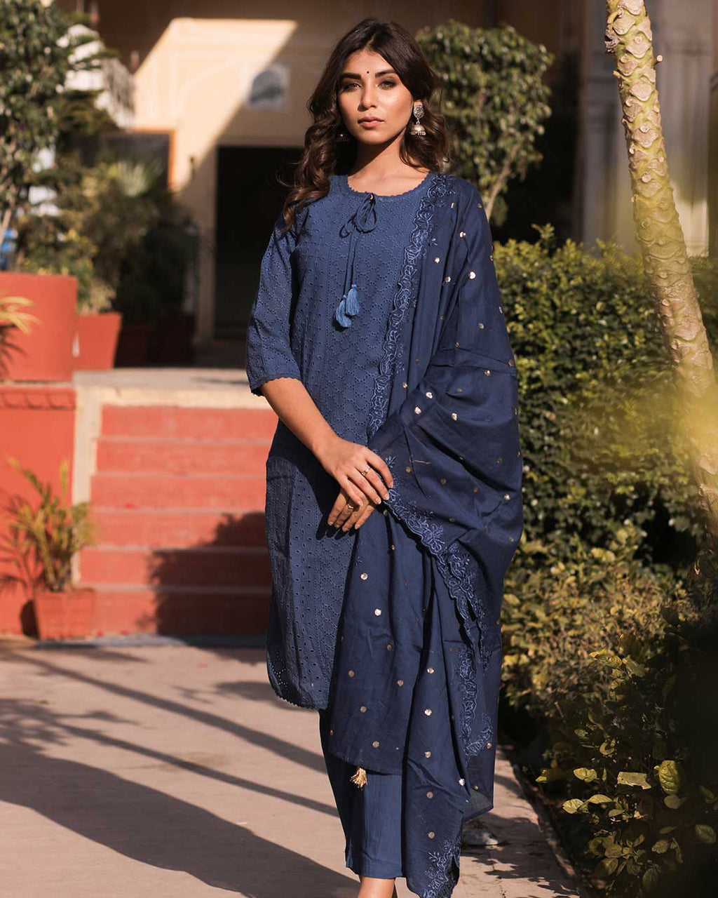 DARK BLUE CHIKAN EMBROIDERED SUIT SET