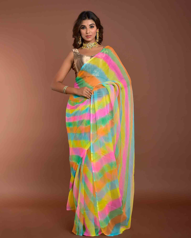 MULTICOLOUR LEHERIYA SAREE