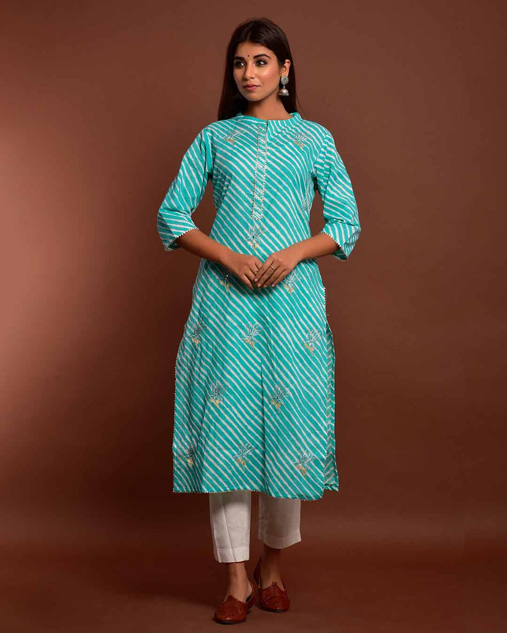 SEA GREEN GOTTA WORK LEHERIYA KURTA