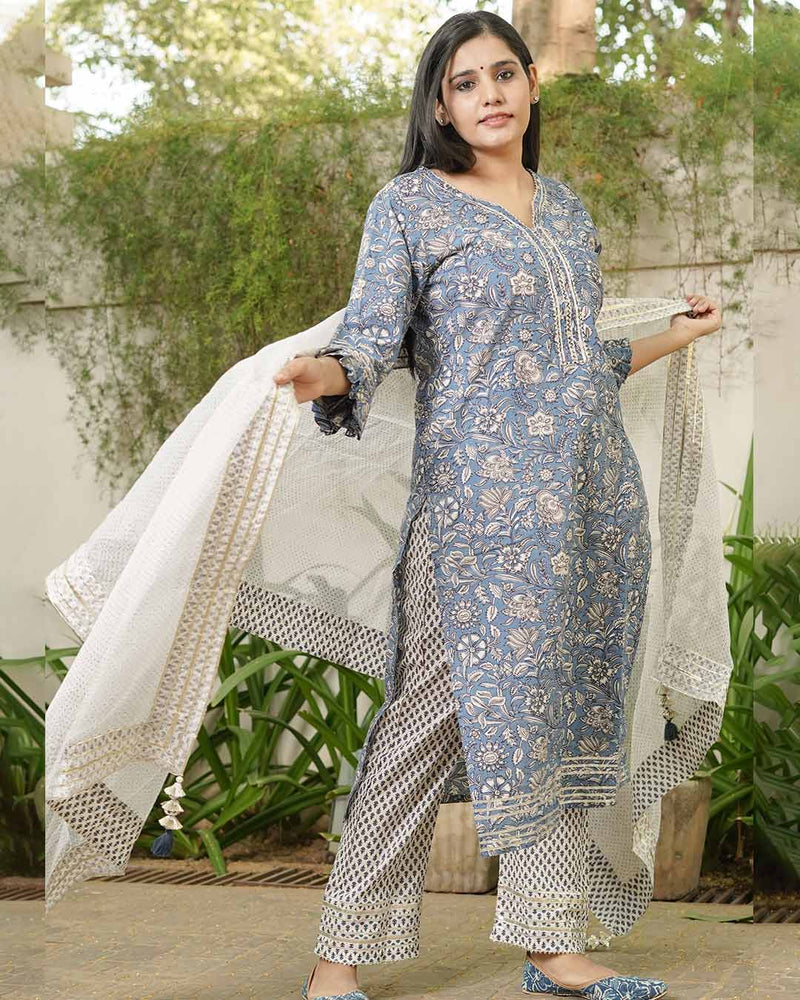 BLUE & WHITE PRINTED SUIT SET