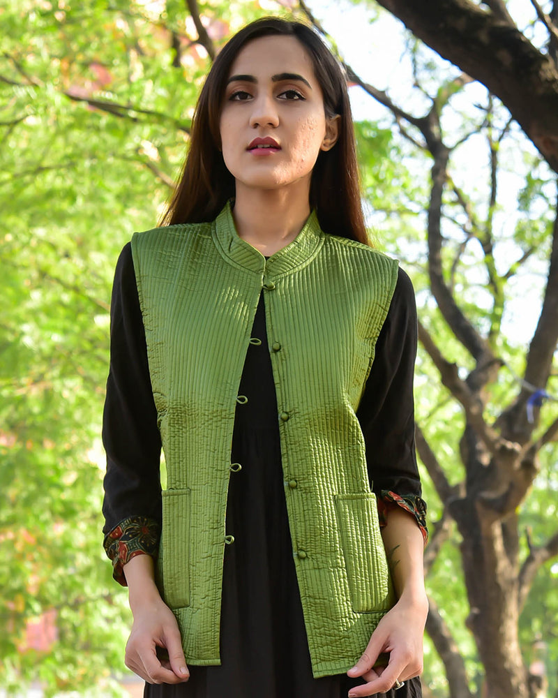 GREEN SILK & COTTON QUILTED JACKET