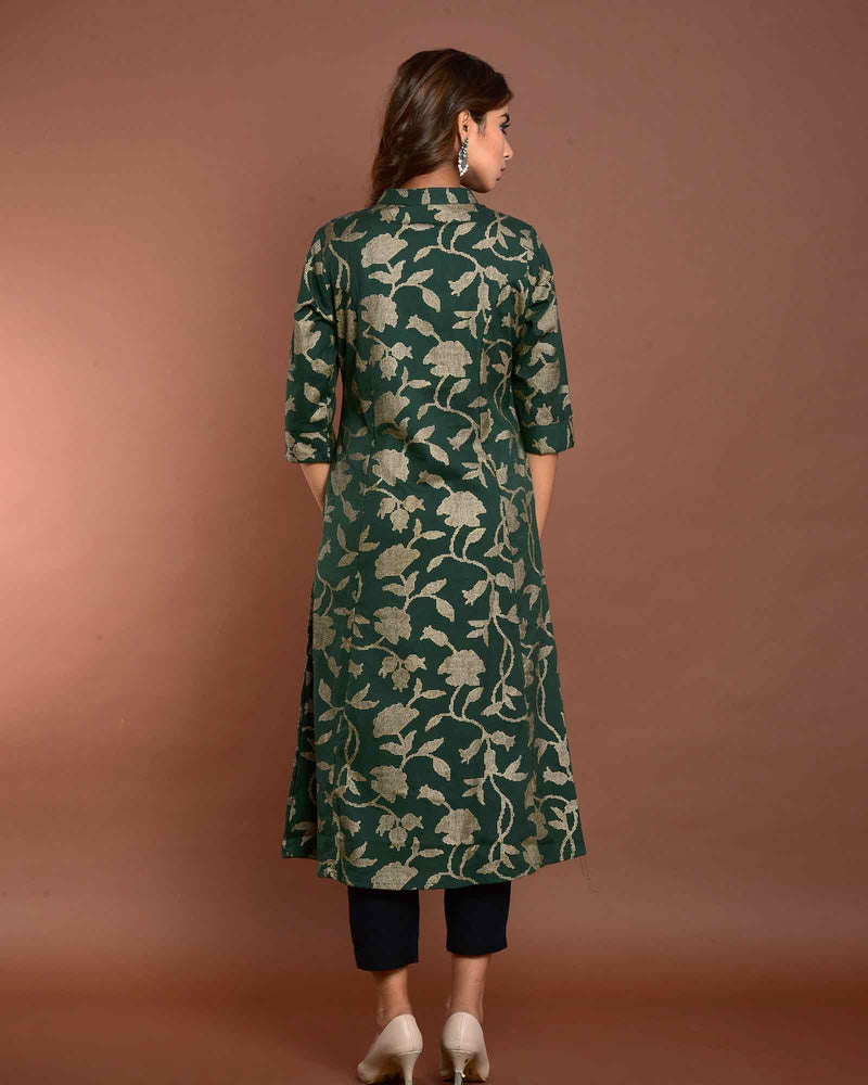 DARK GREEN PRINTED KURTA