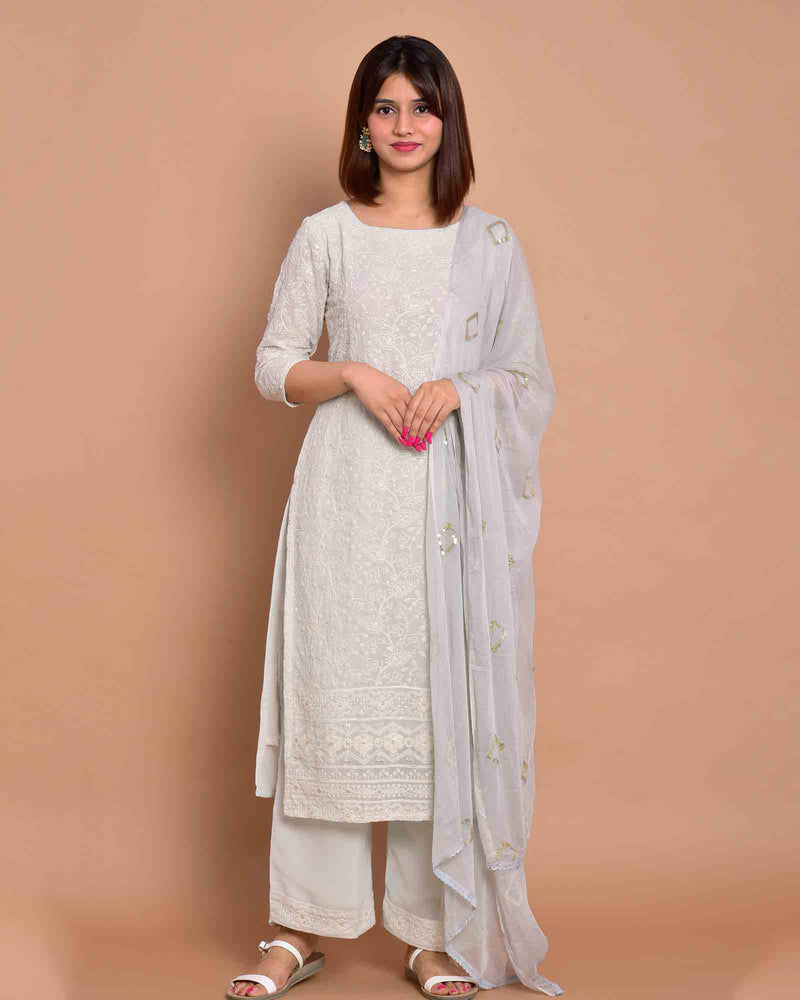 WHITE EMBROIDERED SUIT SET