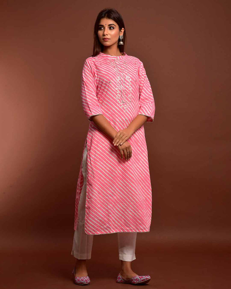 PINK PITTAN WORK LEHERIYA KURTA